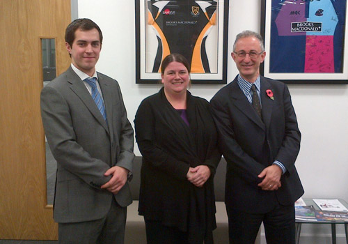Lawrence Lever and Chris Holdoway visit Claire Bennison, Regional Director at Brooks Macdonald