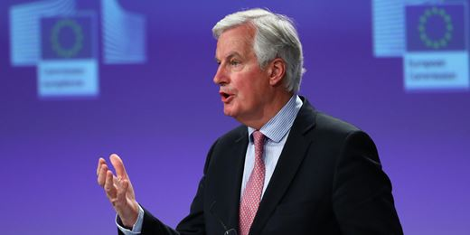 Pound falls on Barnier's Brexit transition warning